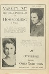 1934 Otterbein College Varsity O Homecoming Program