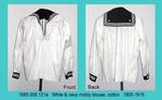 "Blouse, Middy, White CTN Twill, Navy cuffs/collar,""Tennis"" by 008"