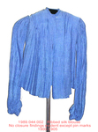 Blouse, French Blue Ribbed Silk, High Collar by 044