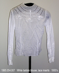 Blouse, White Batiste, Lace, Jewel Neck, Long Sleeves by 054