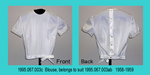 Blouse, Jewel Neckline, Short Sleeve, White Sheer/Opaque by 067