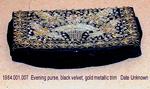 Purse, Clutch, Black Velvet, Gold Metallic Flowers on Flap by 001