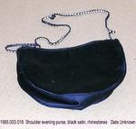Purse, Evening, Small Shoulder, Black Satin, Rhinestone by 003