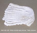 Hat, Baby Bonnet, White Crochet by 008