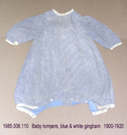 Rompers, Baby, Blue/White Gingham, White Trim by 008