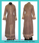 Dress, 2-Piece, Brown Calico, Poor, Mended/Faded by 008
