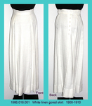 Skirt, White Linen, 6 Gore, Crocheted Buttons Down Back by 016
