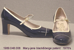 Shoes, Mary Jane, Black/Beige Patent, High Heel by 048