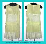 Dress, Shift, Light Green Chiffon, Knife Pleats, Lace Trim by 053