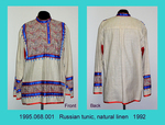 Tunic, Female, Russian, Natural Linen, Red/Blue Trim by 068