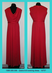 Dress, Evening, Red Qiana Knit, Cowl Neckline by 085