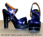 "Shoes, Female, Navy Kid Platform Sandal, 4"" Chunky Heel by 097"