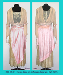 Dress, Evening, Pink Chiffon/Satin, Beige Lace, Hanging Sleeves by 105