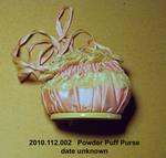 Powder Puff Purse, Pink Satin, Lace, Pink Ribbon Drawstring, Mirror by 122