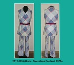 Pantsuit, Sleeveless, Wide Pant Leg, White, Red and Blue Print by 069