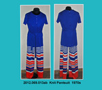 Pantsuit, Knit, Blue Top, Red, White, and Blue Striped Pants by 069