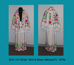 "Skirt & Shawl, White Wool, Bright ""Mexican"" Crewel Embroidery by 127"